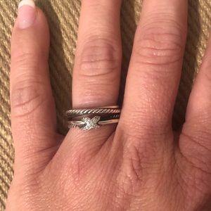David Yurman Crossover X Pave Ring, size 8
